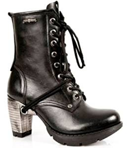 64d9831f6ed0 New Rock Newrock TR001-S1 Ladies Women Trail Black Leather Gothic Punk Boots