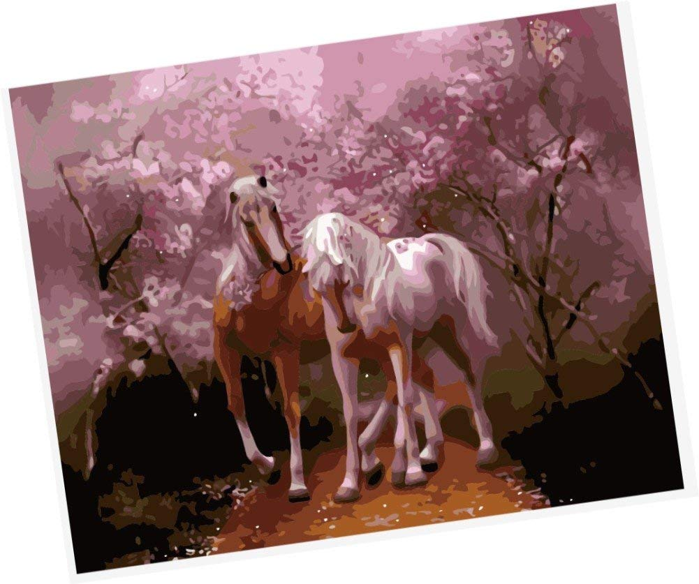Wowdecor Paint by Numbers Kits for Adults Kids, Number Painting - Lovers,Two Horses Fall in love Under the Pink Tree 16x20 inch (Framed)
