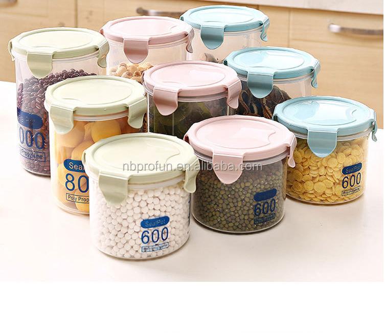 Sello de plástico cocina almacenamiento de alimentos dispensador con ...