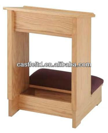 Acolchado reclinatorio de oraci n de madera acabado en for Sillas para iglesia en madera