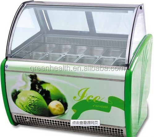 Eco-friendly refrigerant R404a commercial ice cream display freezer -22- -18deg for sweet shop