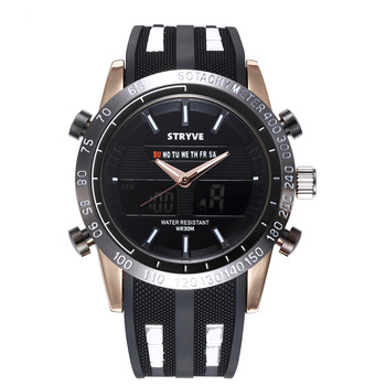 STRYVE Brand men Sports Wrist Watch Military Waterproof Watches Fashion Silicone LED Digital Clock Watch Men Wristwatches