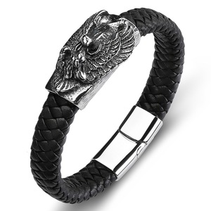 Made in China Men's Fine Leather Jewelry Black Dragon Head Buckle Handmade Rope Band Hand Bracelet