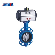 Pneumatic flange ends butterfly valve stainless steel 304 Wafer Type with platformpnuematic butterfly valve China manufacturer
