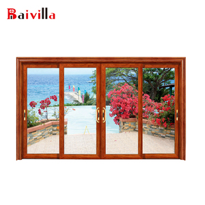 Newest design with tempered glass 4 panel aluminum sliding patio doors