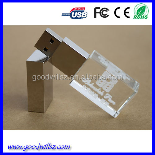 Wholesale crystal 8gb usb flash within custom laser logo Best USB flash disk crystal,3D Laser engraved crystal led usb drive Cry