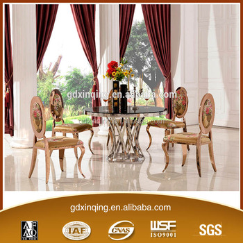 Th371 Stainless Steel Tempered Gl Round Dining Table