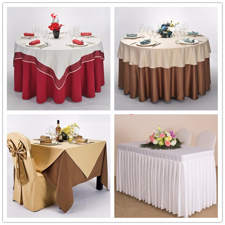 Top grade 100 polyester table linens white wedding used for Where can i buy table linens