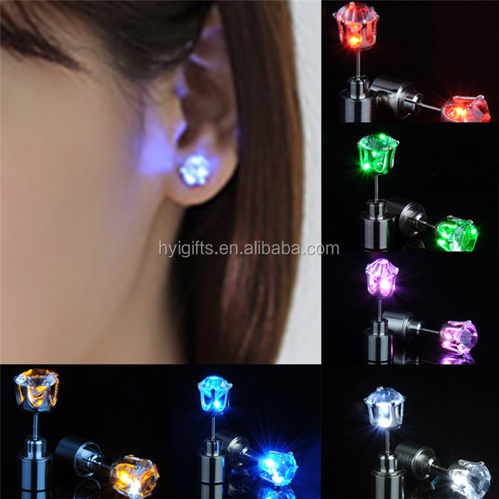 colored party favor decoration led earring wholesale fashion christmas new year event flashing light up earring