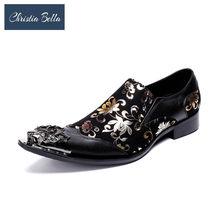 Кристиа Белла, итальянский стиль, мужские остроконечный металлический носок, модельные туфли, черные вечерние туфли, золотой цветочный при...(Китай)