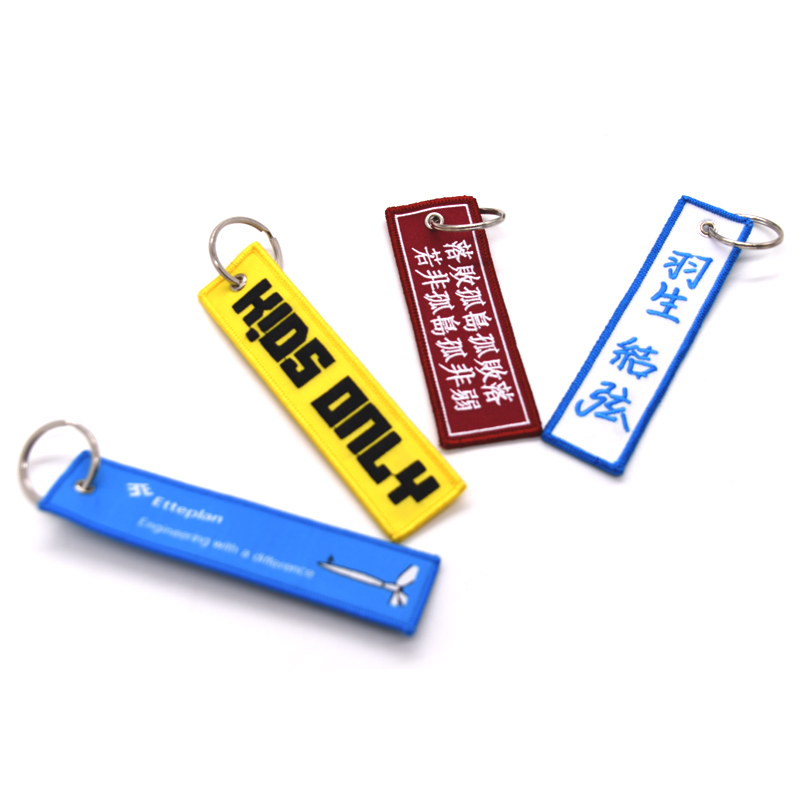 Promotional Gifts Custom Crew Logo Embroidery Keychain, key tag, key ring
