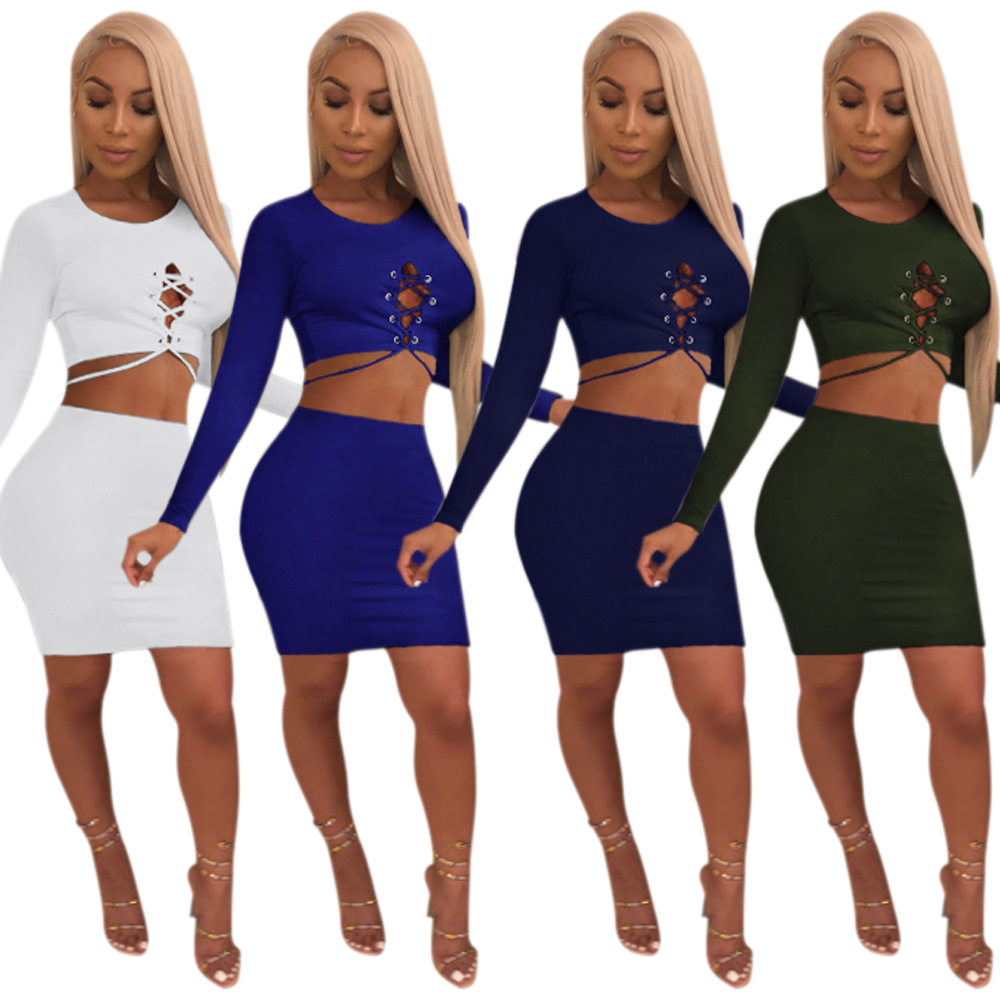 FM-K8656 Sexy Girl Night Club Wear Long Sleeve Tops Bandage Party Two Piece set Bodycon skirt