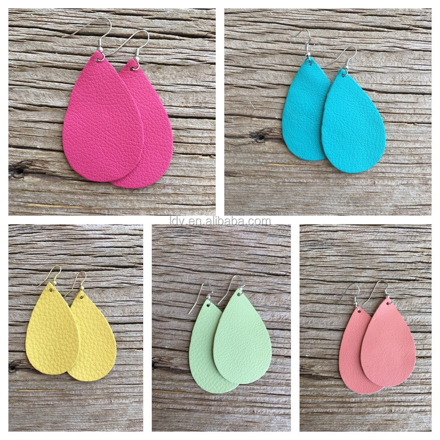 Lightweight Faux Leather Teardrop Earrings 5 Colors