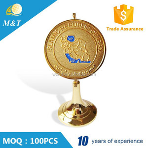 Professional custom gold plated metal award medal trophy