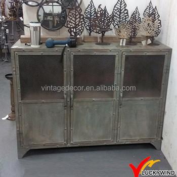 3 Doors Rivet Old Aged Vintage Industrial Metal Cabinet