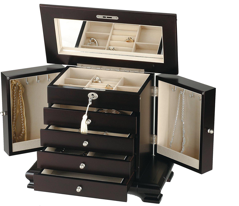 Buy Seya Modern Wooden Jewelry Box Organizer with Mirror Cherry in