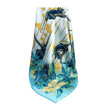 China Wholesale Ladies 100 Pure Silk Satin Square Large Custom Printed Scarves