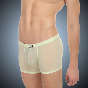 JQK309 Men Sexy Mesh Transparent Boxer Ice Silk Underwear Shorts Exotic Boxers