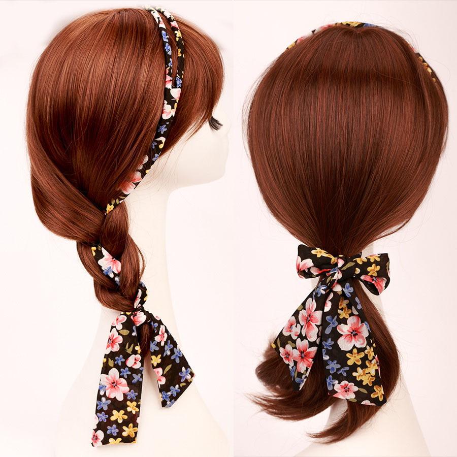 Buy korean stylish hair accessories girl  39 s hairbands bowknot hair bands  solid color flora print headwear female ribbon hair ornament in Cheap Price  on ... bdfa757f42e