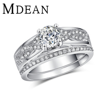 Mdean White Gold Plated Ring Sets For Women Engagement Finger Bague