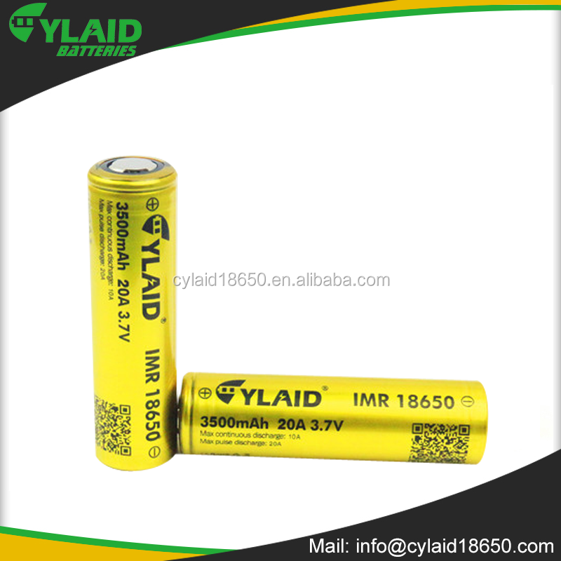 rechargeable lithium ion battery Cylaid 3.7v rechargeable 18650 3500mah 20A button cell cr18650 battery