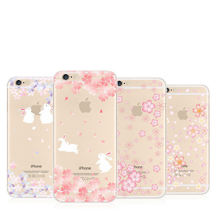 Soft Shell Flower Pattern Rubber Transparent TPU Protection Case Cover For iPhone 6 Plus 5.5 Inch