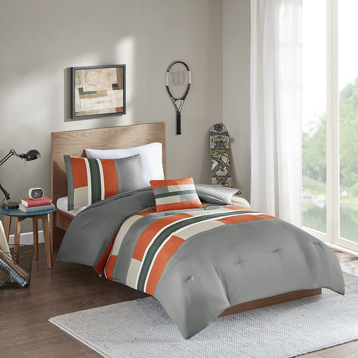 Comfort Spaces - Pierre Comforter Set - 3 Piece - Gray/Orange - Multi-Color pipeline Panels - Perfect For Dormitory - Boys - Twin/Twin XL size, includes 1 Comforter, 1 Sham, 1 Decorative Pillow