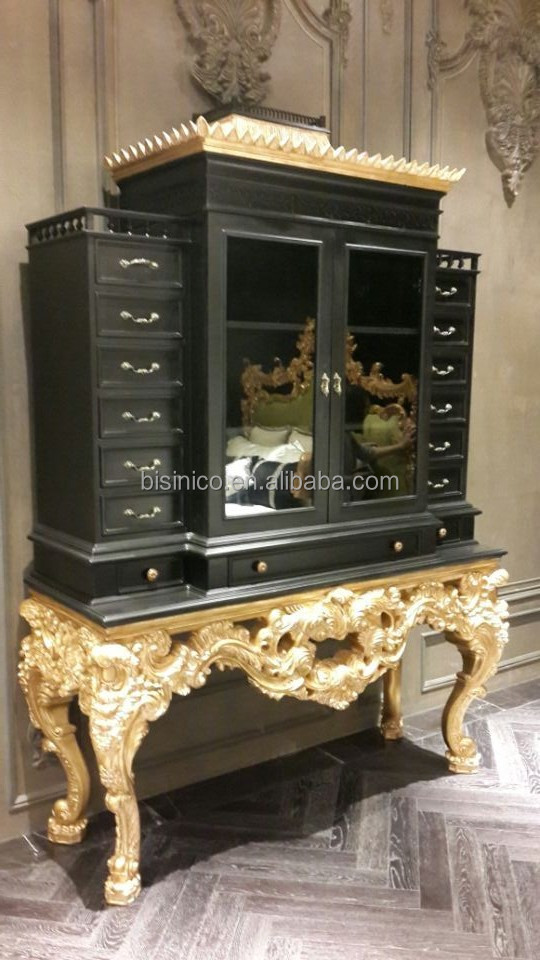 Queen Anne Series Bedroom Furniture Set- Chest of Drawers, Luxury Wood  Carved Side Cabinet