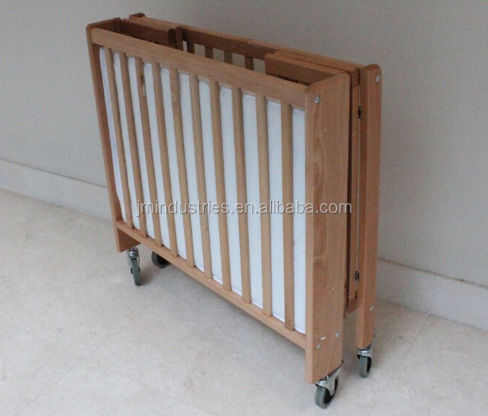 En716 Certified Wooden Baby Folding Cot Foldable Baby Cot