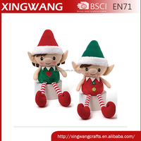 EN71 TEST Customize lovely sitting christmas elf plush toy with soft legs