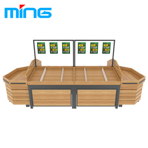 Supermarket Fruit Store Wooden Fruit Produce Display Rack