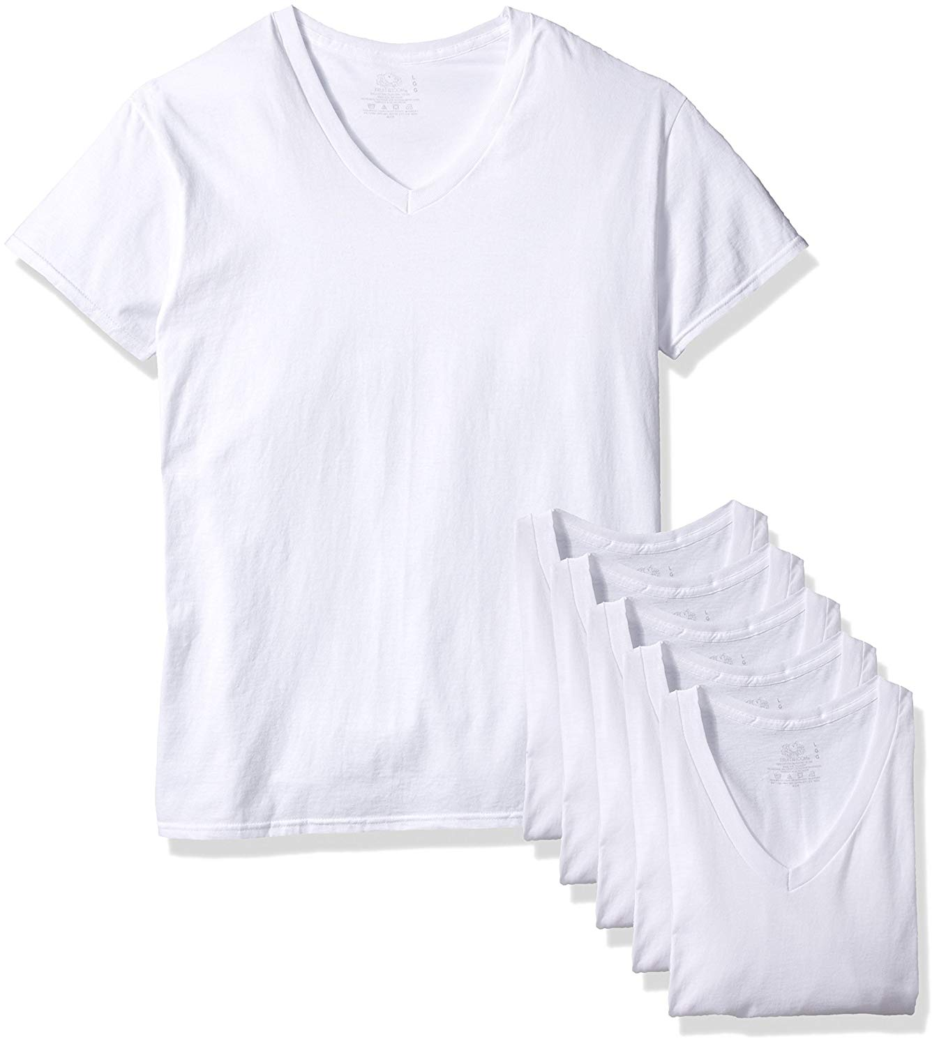 b3dd3add Get Quotations · Fruit of the Loom Men's White V-Neck T-Shirts 6-Pack  5P2525V