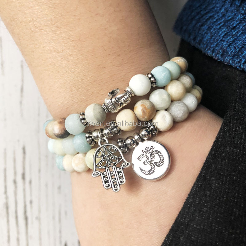 408b007db6a8c3 SN0957 Amazonite Bracelet Sets Men Stackable Matte Amazonite Beads Om Buddha  Hamsa Hand Charm Bracelet Yoga. Packaging & Shipping