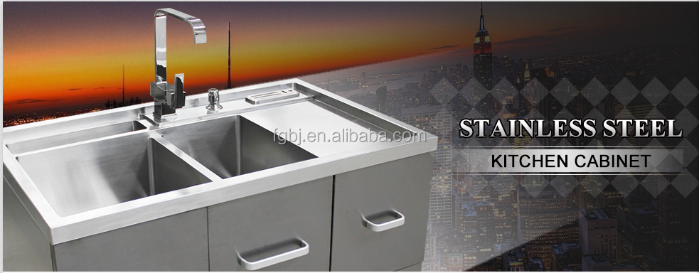 Handmade Stainless Steel Integrated Kitchen Sink Cabinet
