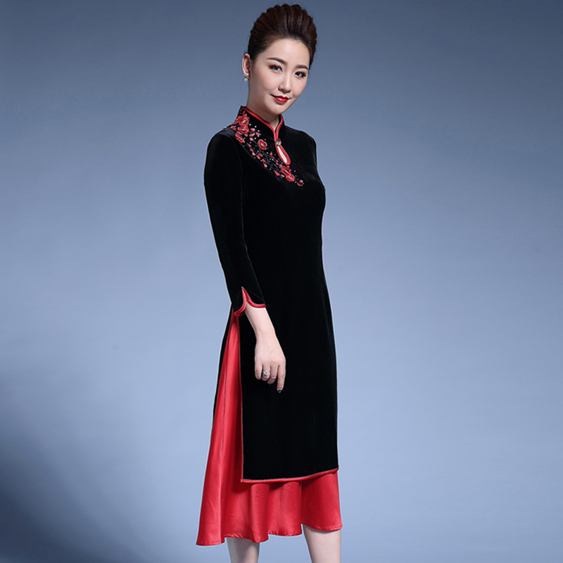 Formelle Chinois Traditionnel Neuf Points Manches Qipao Robes