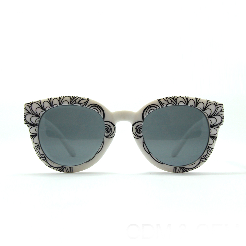 Fashion cat eye mirror lens wood round frame uv400 ce unisex sunglasses