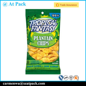Custom printed back side sealing plantain chips packaging bags