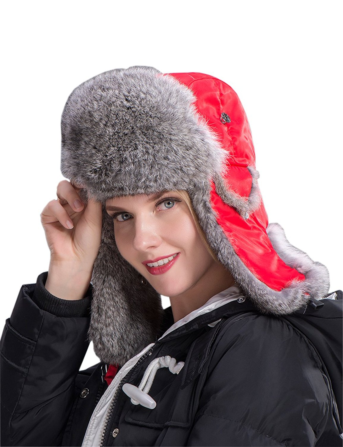 499d91973ce12 Get Quotations · Fur Trapper Hat Rabbit Fur Hat Skiing Cap Warm Earflap Hat  Bomber Hat