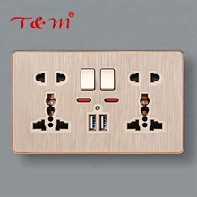 High quality 5 pin 13A multi electric wall power switch socket with double usb