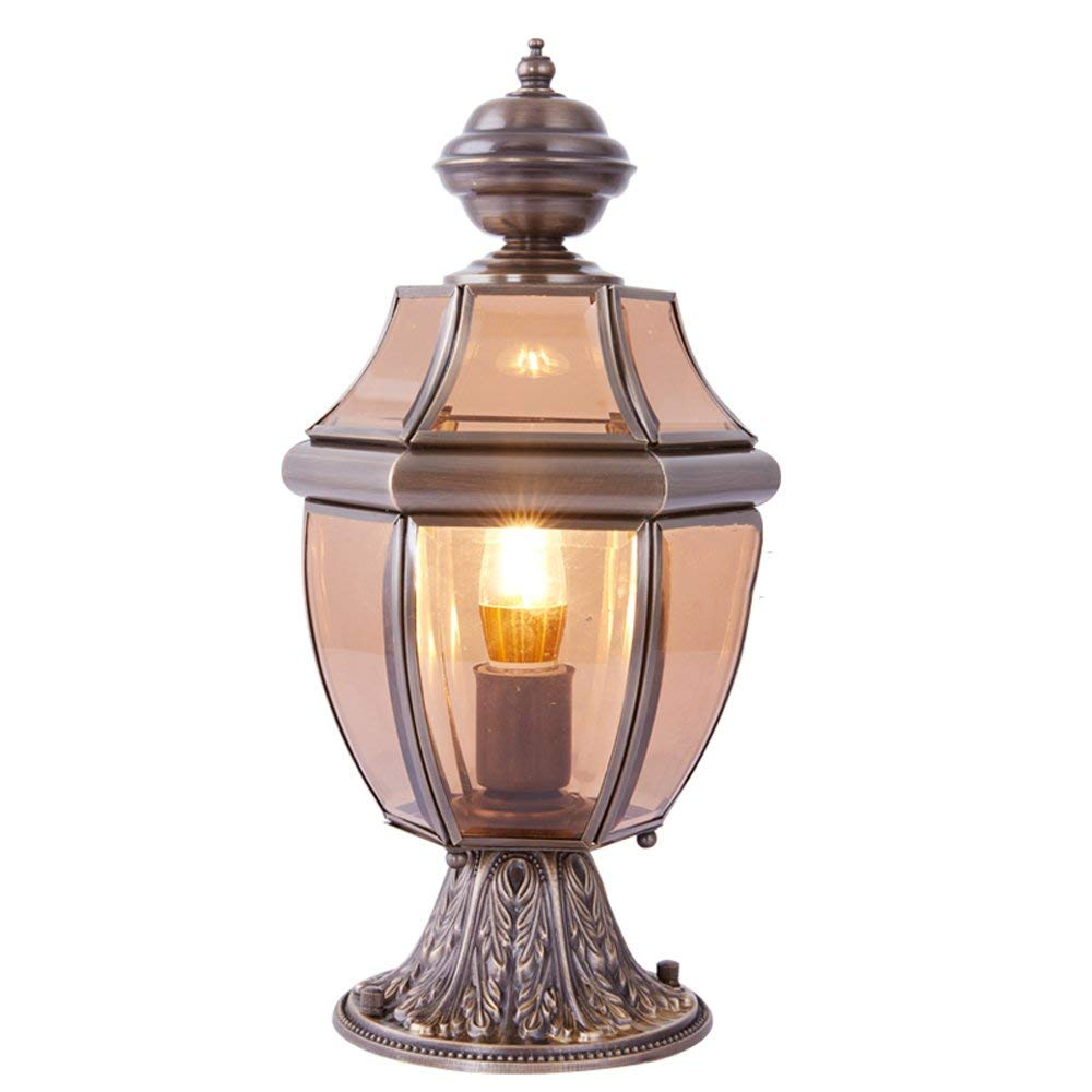 E27 Classic Full Copper Pillar Lamp Outdoor Wall Post Light Continental Garden Lamp Unique Creative Door Villa Fence Column Headlights Fashion Wedding Pool Edge Landscape Streetlight Lighting Fixtures