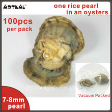wholesale 100pcs oyster shell pearl 7-8mm oval freshwater pearls