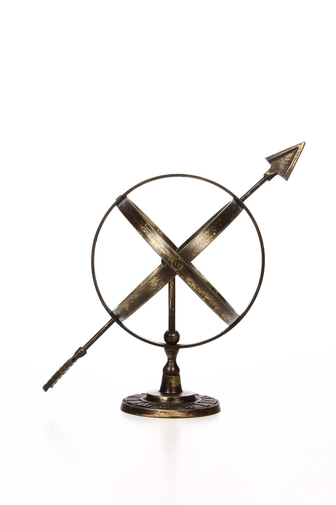 "Hosley Arrow Sphere Armillary Tabletopper, 9.75"" High. Ideal Gift for Wedding and Special Occasions and for Spa, Aromatherapy, Reiki, Chakra, Candle Garden Setting. O7"