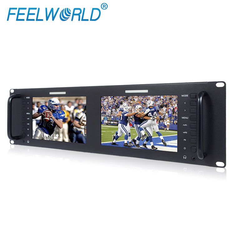 "Twin 7"" monitor SDI HDMI 7 inch 3ru rack monitor with tally"