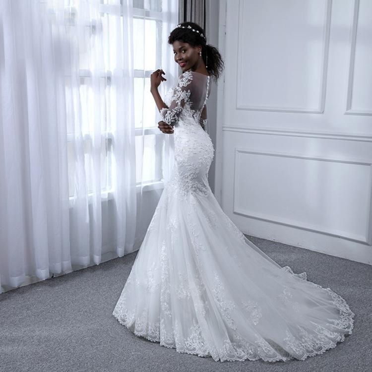 169cd6277c Personalizado Sexy sin espalda vestido 2019 último diseño negro de las  mujeres vestido de boda sirena