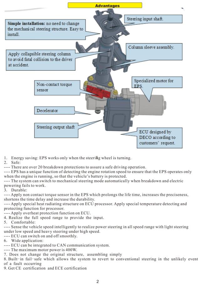 Electric Power Steering(eps) For Atv/utv,Electric Power Steering  Motor,Electric Power Steering For Quads - Buy Electric Power  Steering,Electric Power