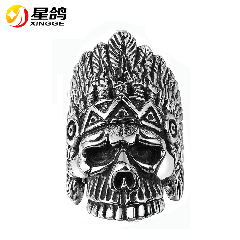 high quality stainless steel ring vintage antique silver the Indians & skull rings religious jewelry wholesale