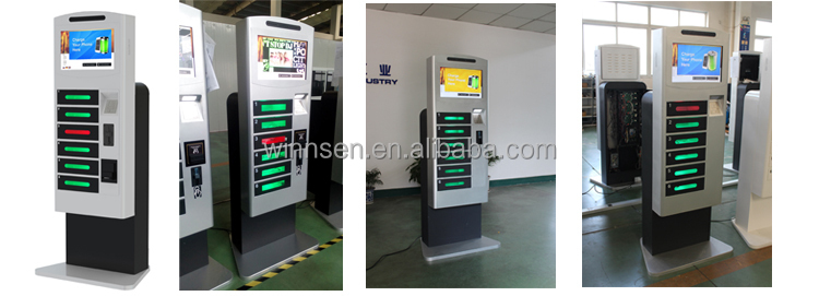 Customized Self Service Free Pay Locker Cell Phone Charging Station Remote Management To Charge