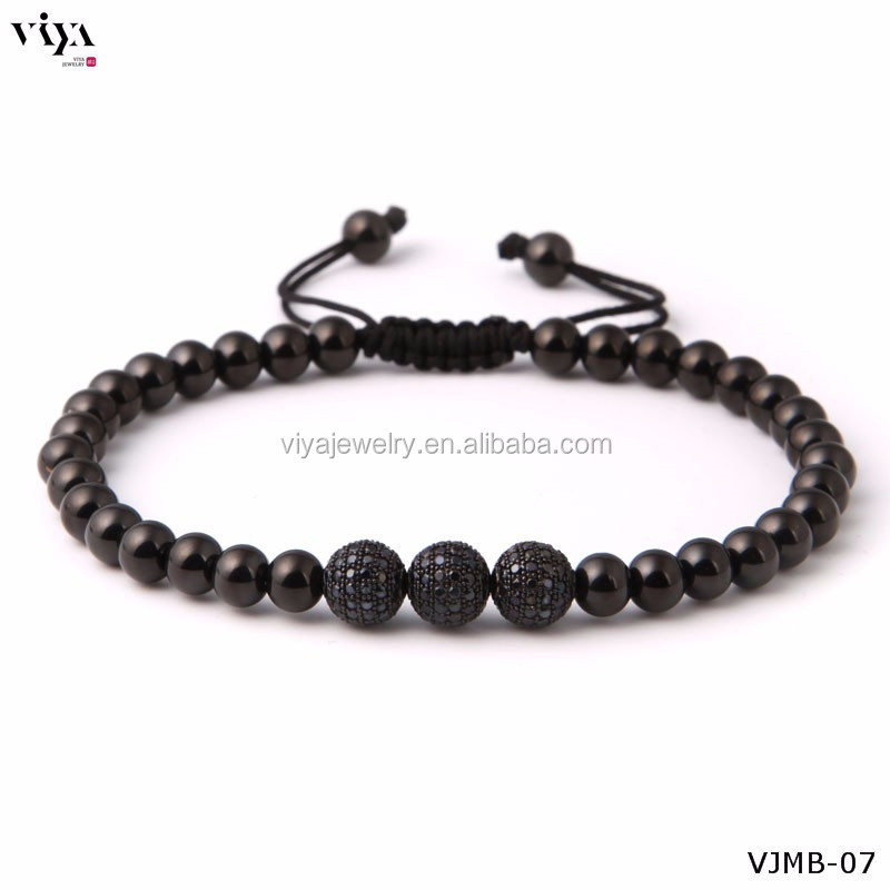 6mm Silver round shining Beads bracelet for men's accessories