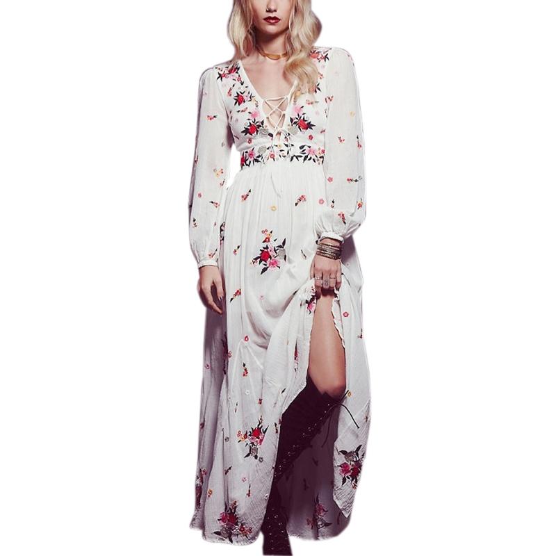 fffe47ada4ba TEELYNN Bianco boho abito lungo in cotone 2018 Vintage ricamo floreale  nappa Casual maxi abiti hippie donne vestono abbigliamento di marca. 6 1-1  ...