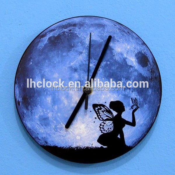 Glow In The Dark Moon Clock Glows At Night Room Wall Clock